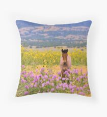 Foal and Flowers Throw Pillow