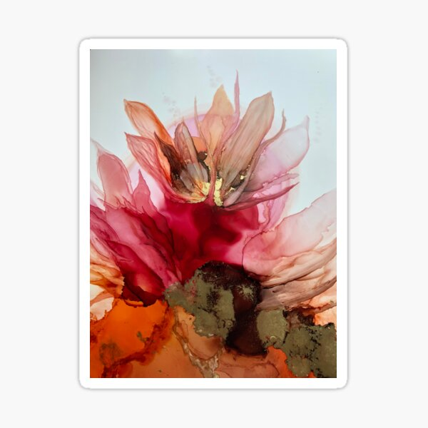 'Desert Rose' abstract floral ink art Sticker