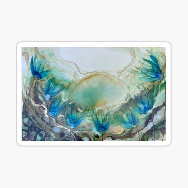 'Avalon', blue floral art. Sticker