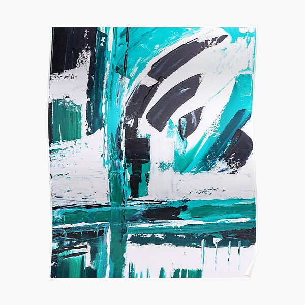 Abstract paint structure cyan Poster