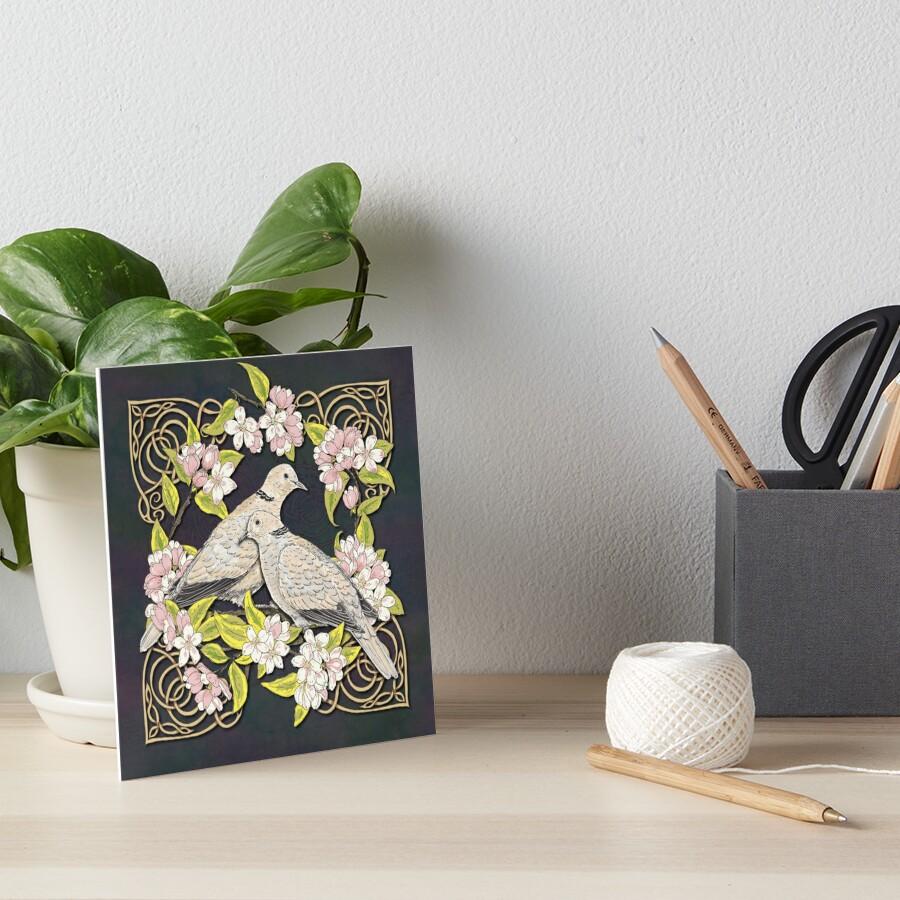 Celtic Collared Doves in Blossom Art Board Print