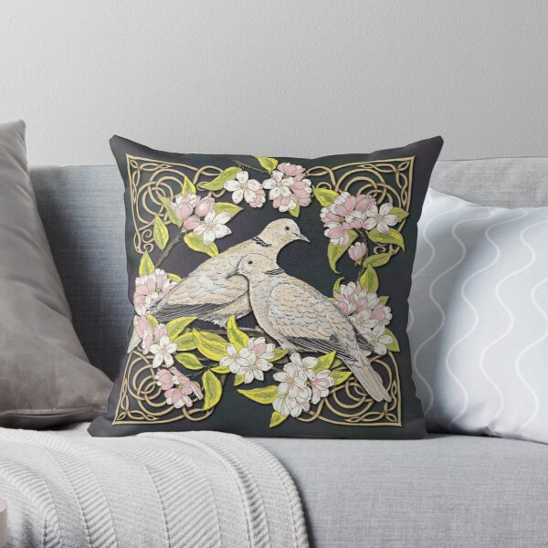 Celtic Collared Doves in Blossom Throw Pillow