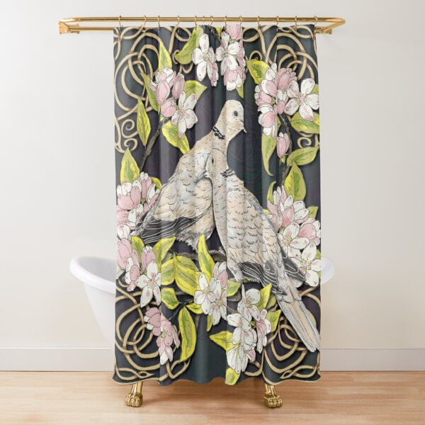 Celtic Collared Doves in Blossom Shower Curtain