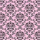Elegant Black Damask Pattern Girly Pink Feminine by Beverly Claire Kaiya