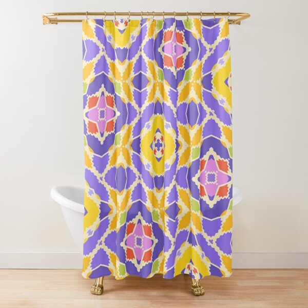 Yellow And Violet Shower Curtain