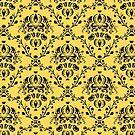 Elegant Black Damask Pattern Girly Yellow Feminine by Beverly Claire Kaiya