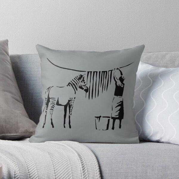 Banksy Zebra Throw Pillow