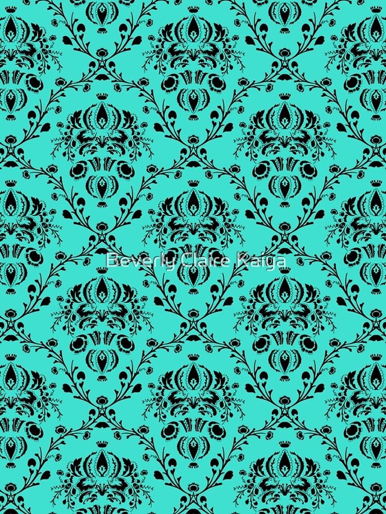 Elegant Black Damask Pattern Turquoise Feminine by beverlyclaire