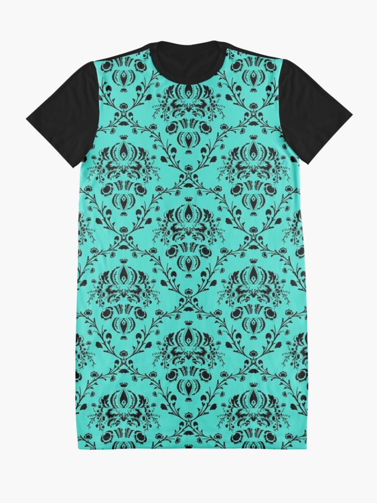Alternate view of Elegant Black Damask Pattern Turquoise Feminine Graphic T-Shirt Dress
