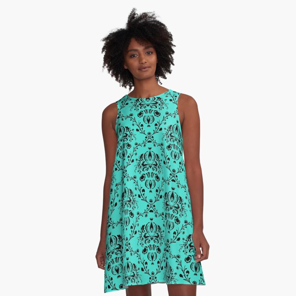 Elegant Black Damask Pattern Turquoise Feminine A-Line Dress Front