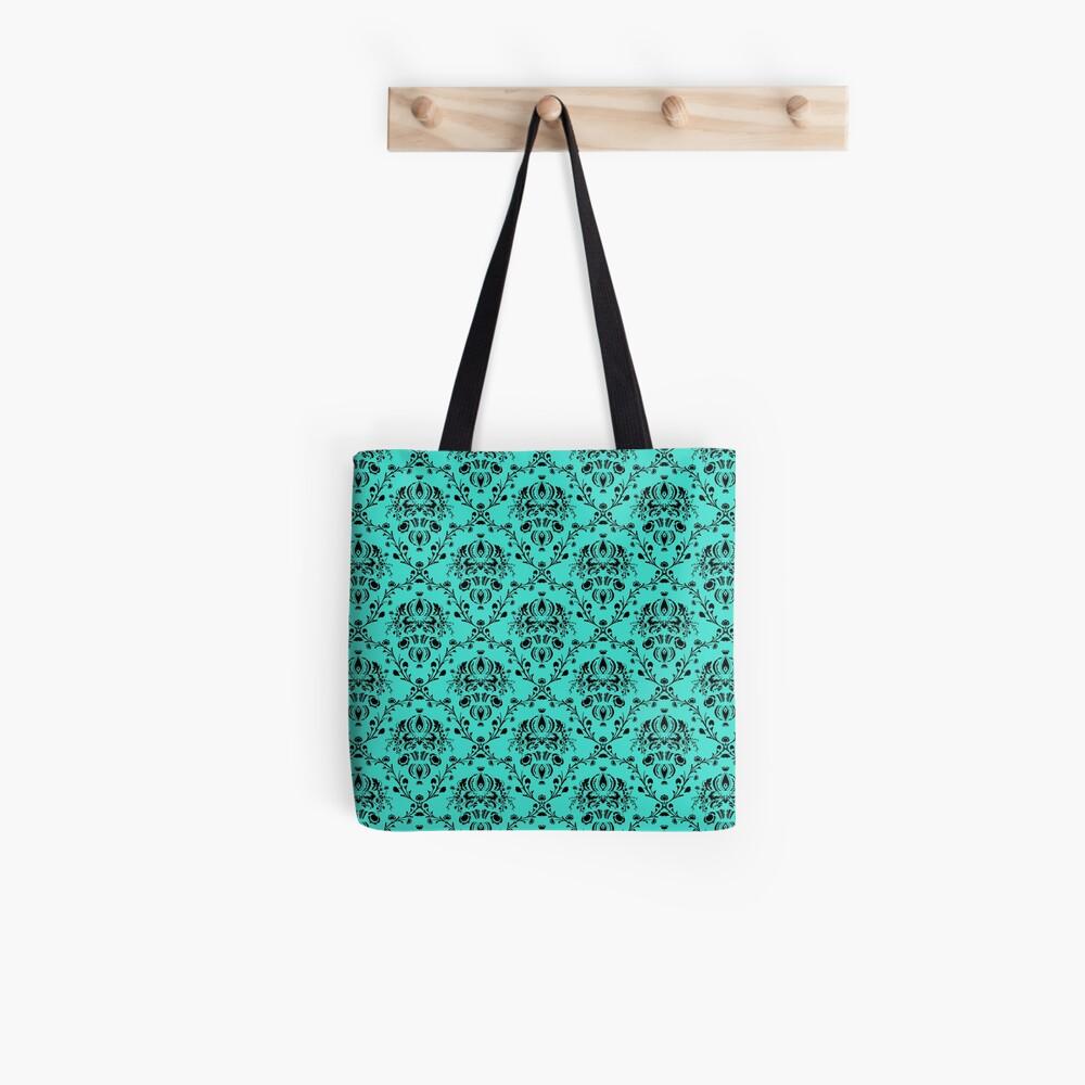Elegant Black Damask Pattern Turquoise Feminine Tote Bag