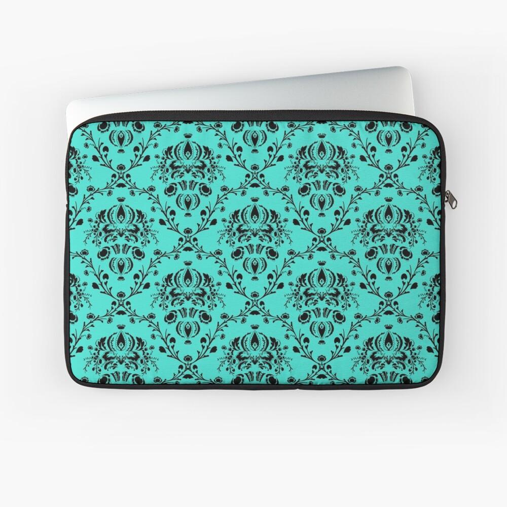 Elegant Black Damask Pattern Turquoise Feminine Laptop Sleeve