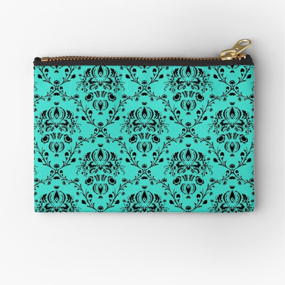 Elegant Black Damask Pattern Turquoise Feminine Zipper Pouch