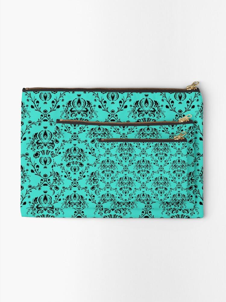 Alternate view of Elegant Black Damask Pattern Turquoise Feminine Zipper Pouch