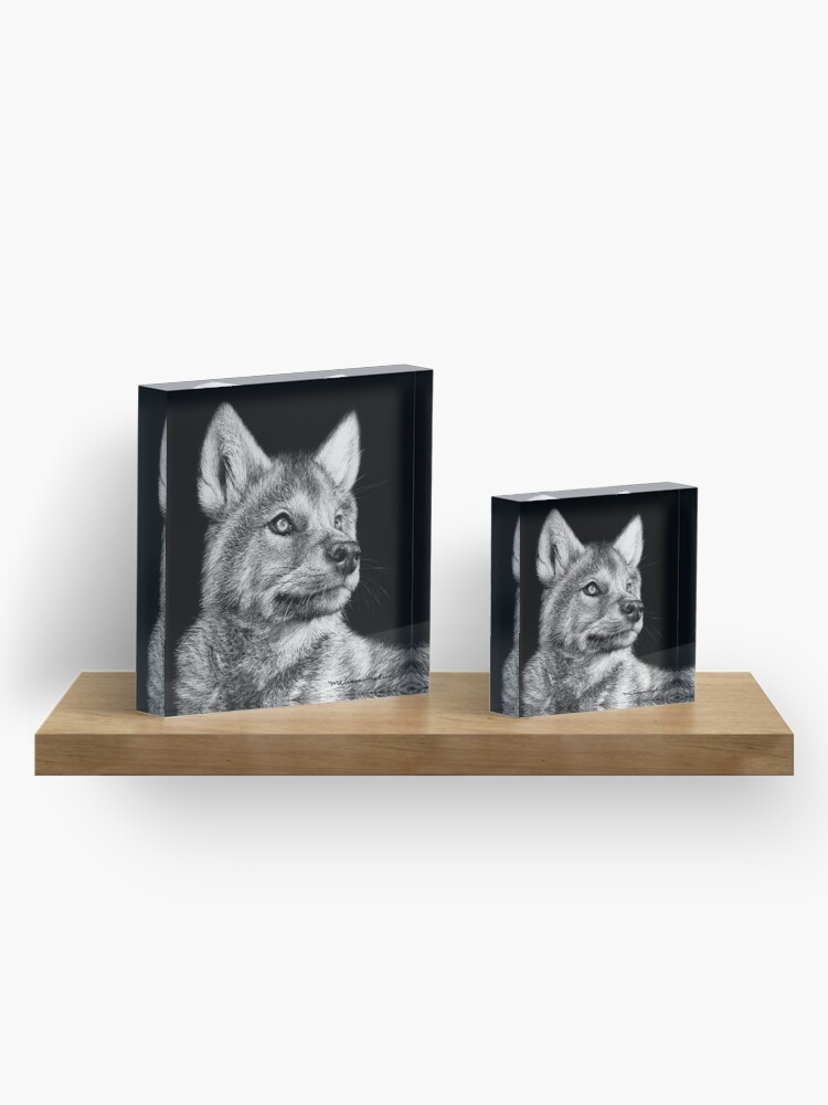 Alternate view of Wolf Pup Black and White Art Acrylic Block