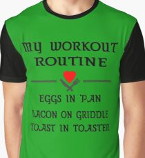 Breakfast Workout Routine Girls Muscle Top Graphic T-Shirt