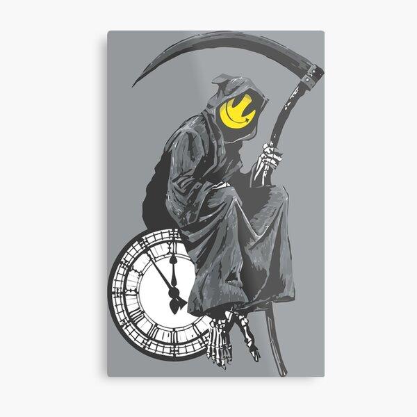 banksy grim reaper clock Metal Print