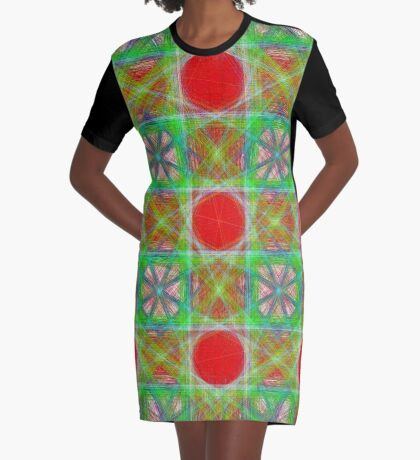 Nine Red Button Planets Graphic T-Shirt Dress