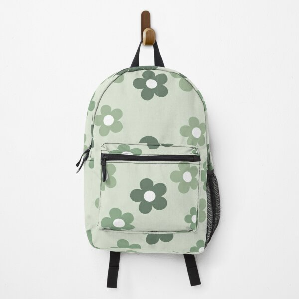 Retro Aesthetic Sage Green Daisy Floral Pattern in Sage Green Backpack