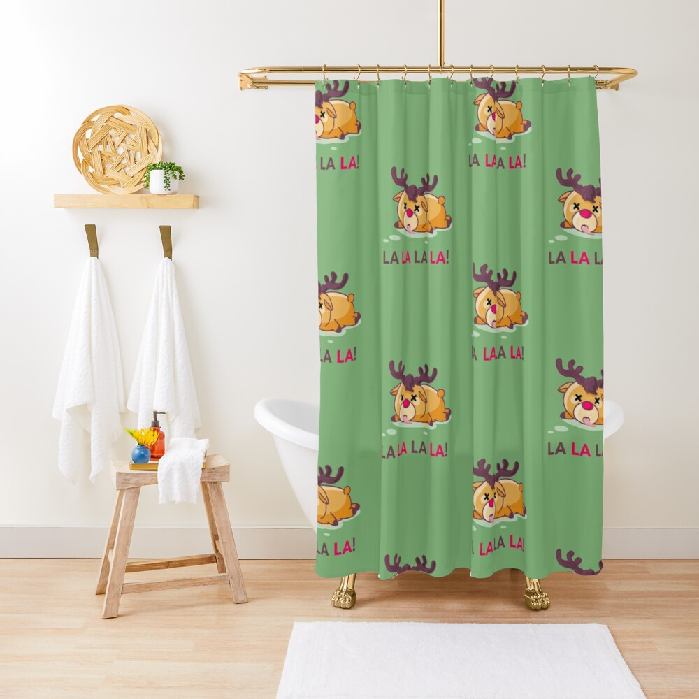 Murder at the North Pole Christmas Reindeer Shower Curtain