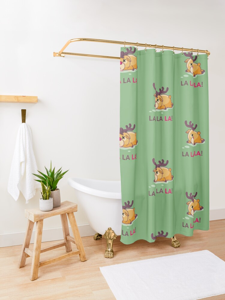 Alternate view of Murder at the North Pole Christmas Reindeer Shower Curtain