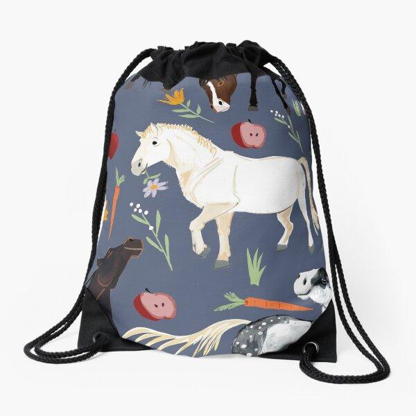 Horse pattern in jeans blue Drawstring Bag