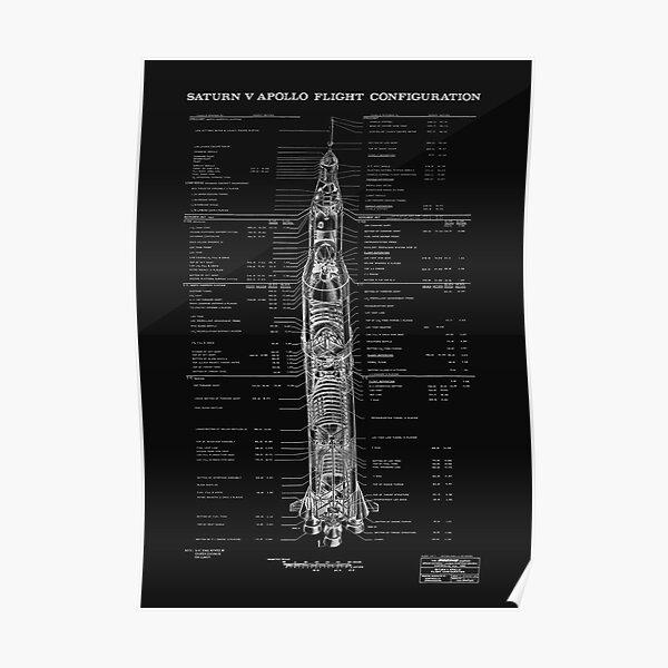 Apollo Saturn V Blueprint in High Resolution (all black) Poster