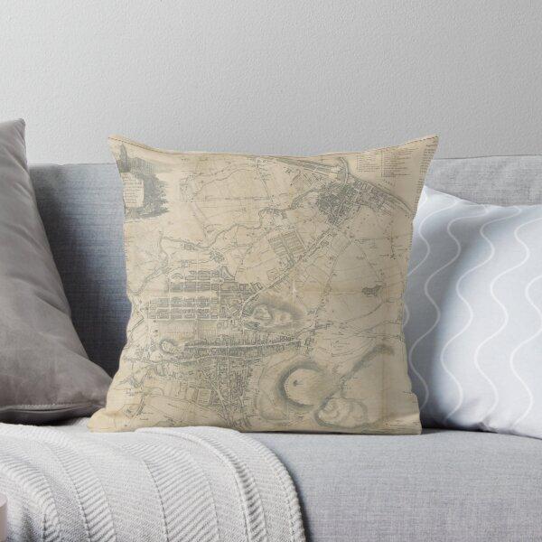 Vintage Map of Edinburgh Scotland (1818) Throw Pillow