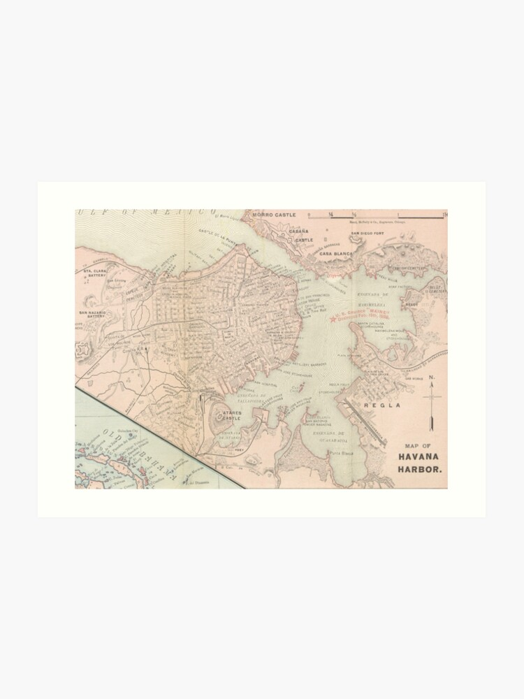 photograph relating to Printable Map of Havana named Classic Map of Havana Cuba (1898) Artwork Print