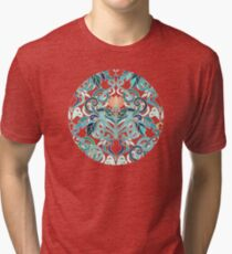 Ocean Aqua Art Nouveau Pattern with Peach Flowers Tri-blend T-Shirt