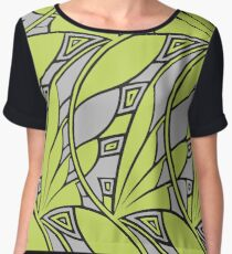 Modern art nouveau tessellations green and gray Women's Chiffon Top