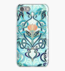 Ocean Aqua Art Nouveau Pattern with Peach Flowers iPhone Case/Skin