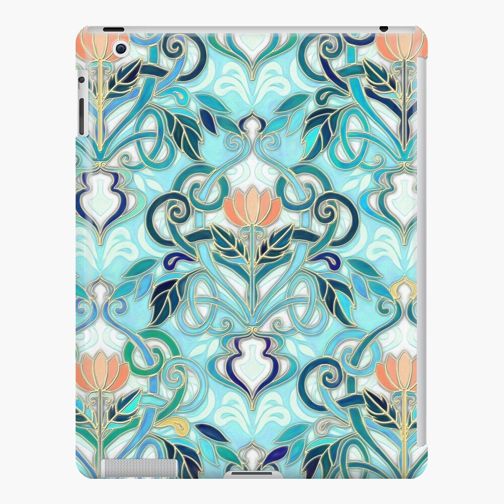 Ocean Aqua Art Nouveau Pattern With Peach Flowers Ipad Case