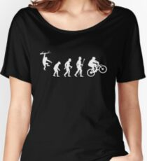 Funny Mountain Biking Evolution Women's Relaxed Fit T-Shirt
