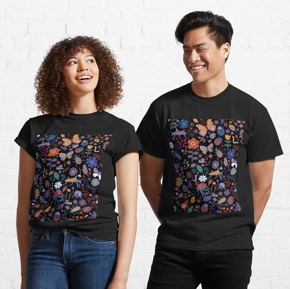 Butterflies, beetles and blooms - black - pretty floral pattern by Cecca Designs Classic T-Shirt