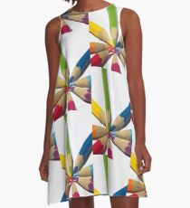 coloured Pencils spiral A-Line Dress