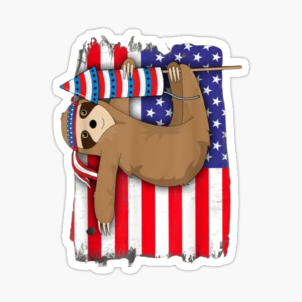 4th of july american flag sloth shirt Sticker