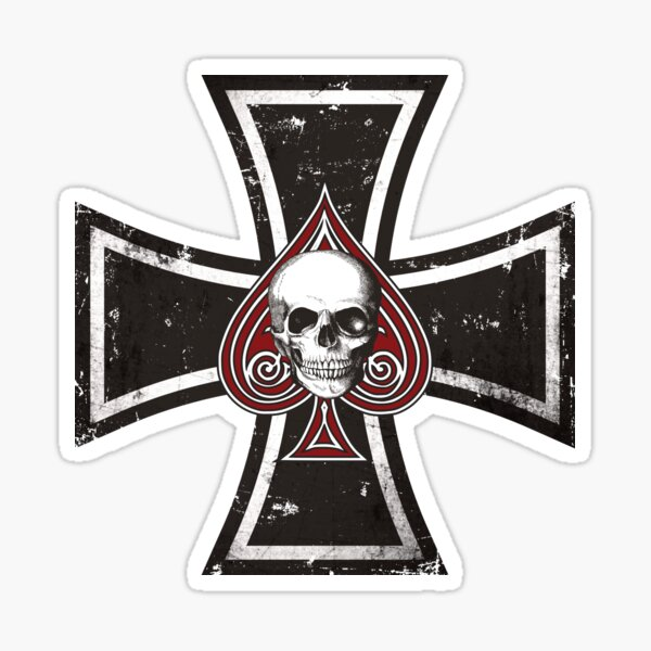 Iron Cross with Ace of Spades Sticker