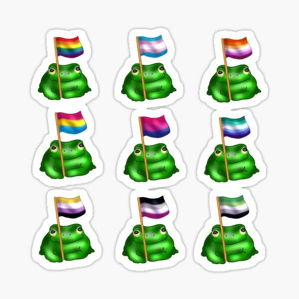 LGBTQ Pride Flag Frogs Sticker Pack Sticker