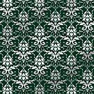 Damask Silver Grey Dark Green Classic Elegant by Beverly Claire Kaiya