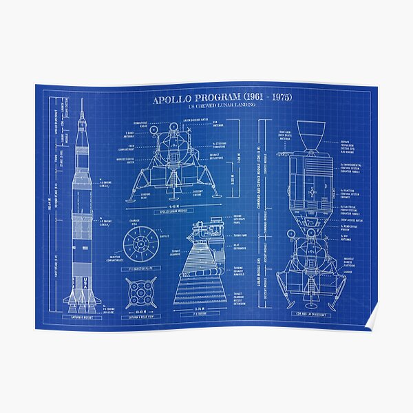 Apollo Program (1961 - 1975) Blueprint Poster