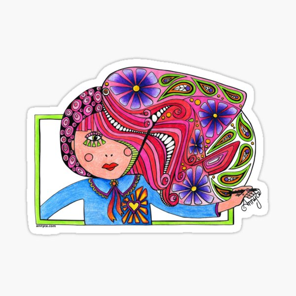 Drawing girl coloured Sticker