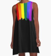 LGBT Gay Pride Rainbow Drip Paint A-Line Dress