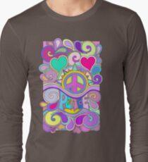 Psychedelische Hippie-Retro Friedenskunst Langarmshirt