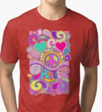 Psychedelic Hippy Retro Peace Art Tri-blend T-Shirt
