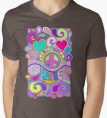 Psychedelic Hippy Retro Peace Art Men's V-Neck T-Shirt