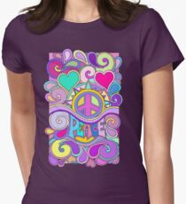 Psychedelic Hippy Retro Peace Art Women's Fitted T-Shirt