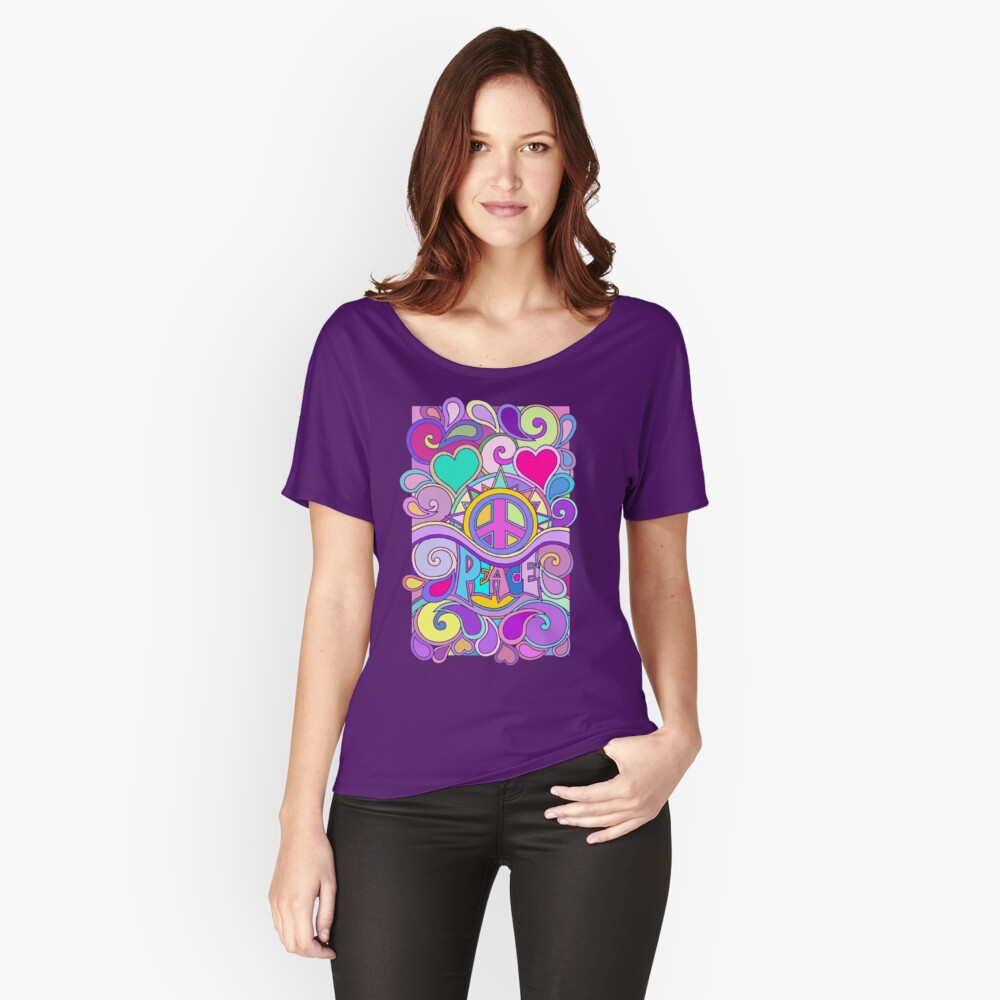 Psychedelic Hippy Retro Peace Art Relaxed Fit T-Shirt