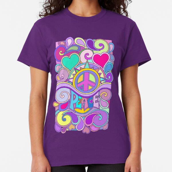Psychedelic Hippy Retro Peace Art Classic T-Shirt