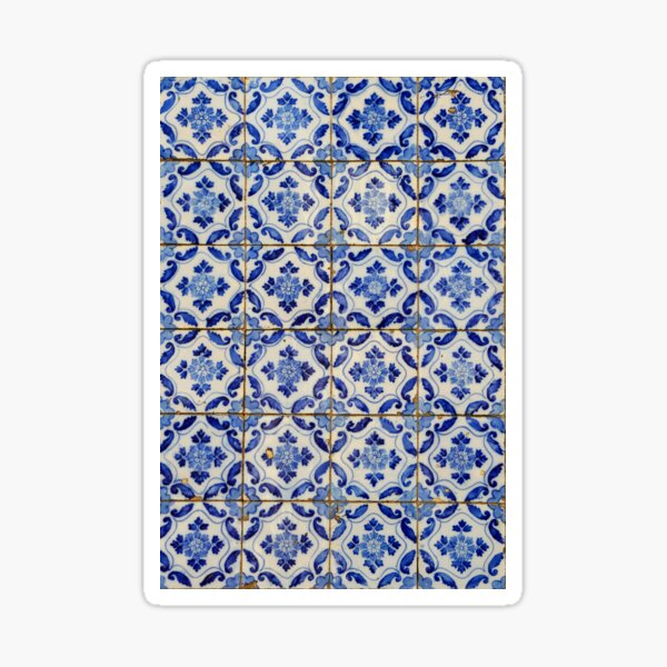 Portuguese tiles. Blue flowers and leaves Sticker